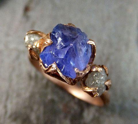 Raw Diamond Tanzanite Gemstone 14k Rose Gold Engagement Ring Wedding Ring One Of a Kind Gemstone Ring Bespoke Three stone Ring by Angeline