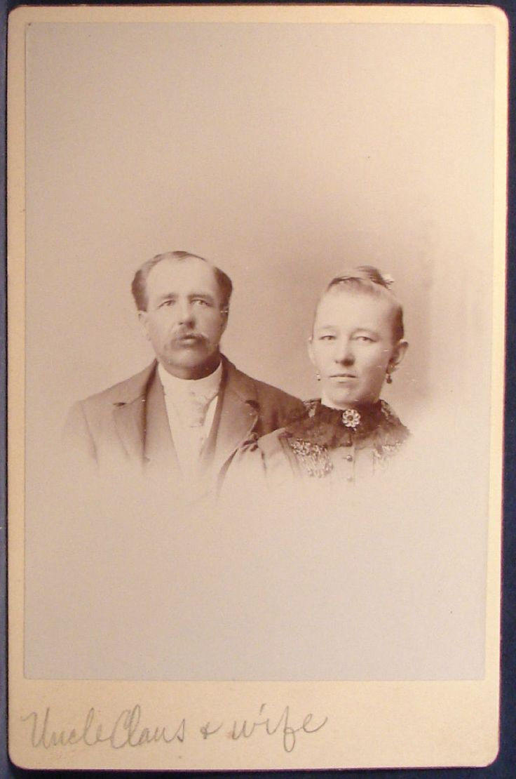 Cabinet Photo Couple Man Mustache Name Uncle Claus  and Wife | eBay