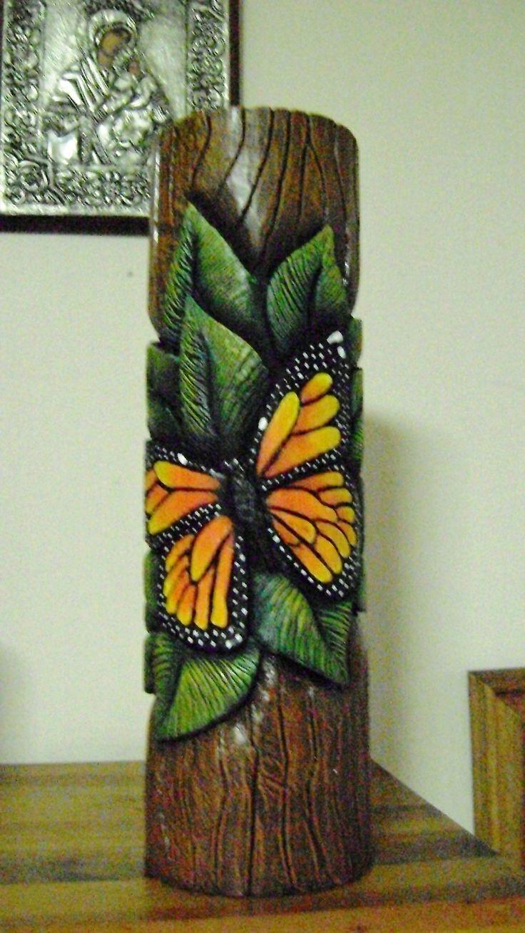 Vela decorativa tallada, pintada con acríco