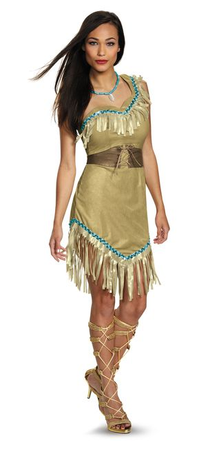 Ladies Plus Size Prestige Pocahontas Costume - Your next adventure is just around the riverbend with this awesome Plus Prestige Pocahontas costume. This officially licensed costume comes with suede dress, belt and necklace. Step into a new world, perfect for Halloween, kids parties, and pair with a raccoon or hummingbird for a fun costume. #yyc #Calgary #costume #Pocahontas #Disney