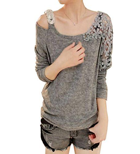 Ladies Hollow Floral Lace Off Shoulder Batwing Sleeve Knitwear Loose T Shirt Blouse Tops (One Free Size, 3:Grey) WOW http://www.amazon.co.uk/dp/B00NIBFTA4/ref=cm_sw_r_pi_dp_l0Azub15NXM2J