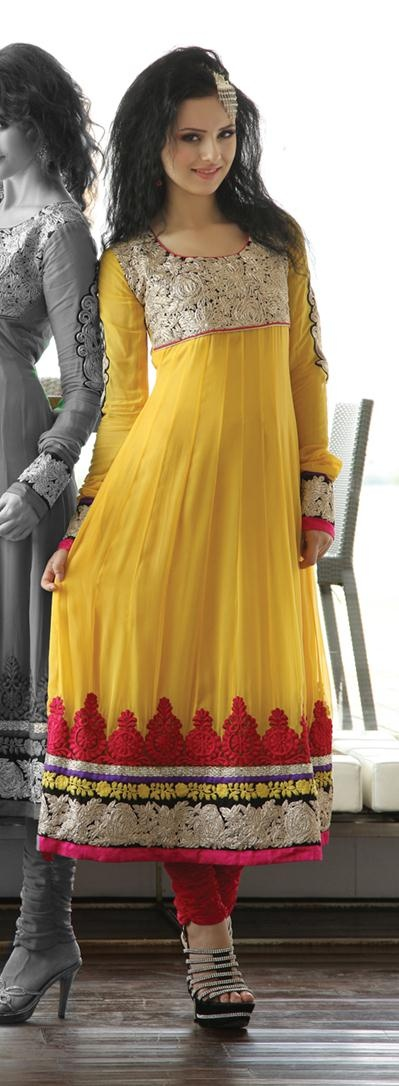 $150.36 Yellow Full Sleeve Faux Georgette Long Anarkali Salwar Kameez 19438