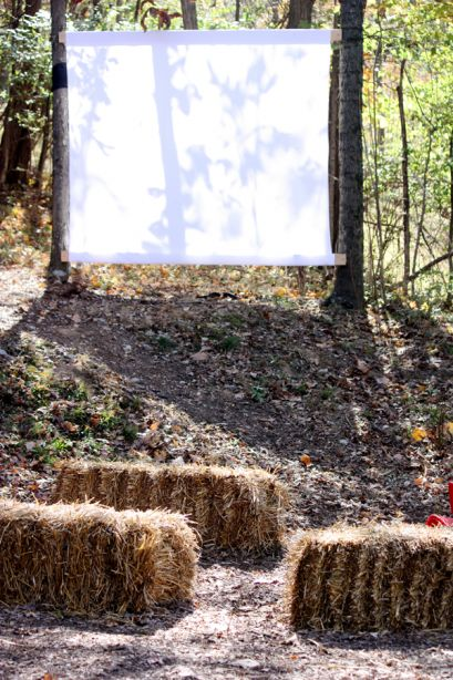 """""""One of the biggest hits was the hay bale outdoor theater:  We showed It's The Great Pumpkin, Charlie Brown with the projector."""""""