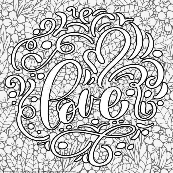 Valentines Lettering Love Abstract Art Coloring Pages Maleboger
