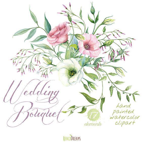 Wedding Bouquet Hand Painted Clipart Watercolor. Lisianthus (Eustoma), Jasmine flowers, Flowers, DIY invites,wedding invitation,…