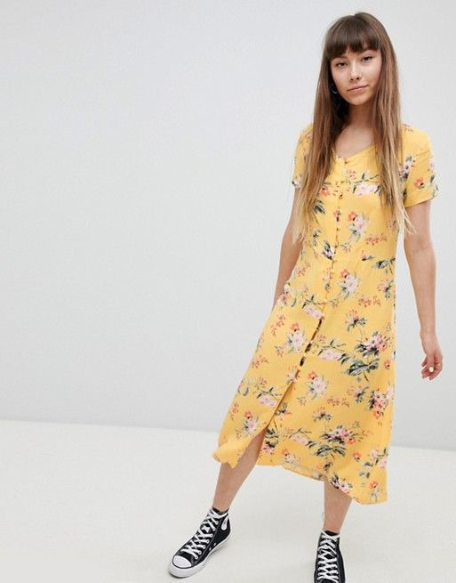 0ce395a56fc3df New Look Button Front Tea Midi Dress