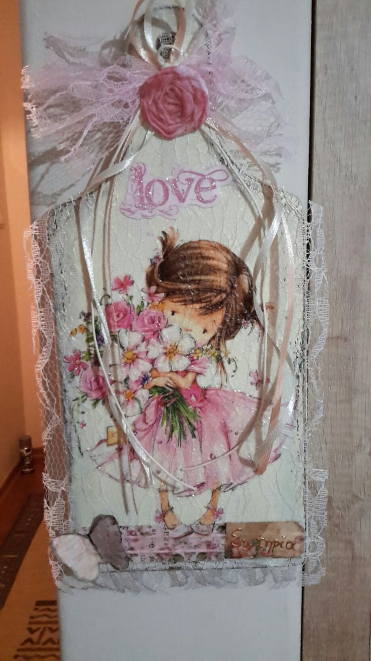A gift for a little girl. #Decoupage ,# lace and #girly pink colour ....