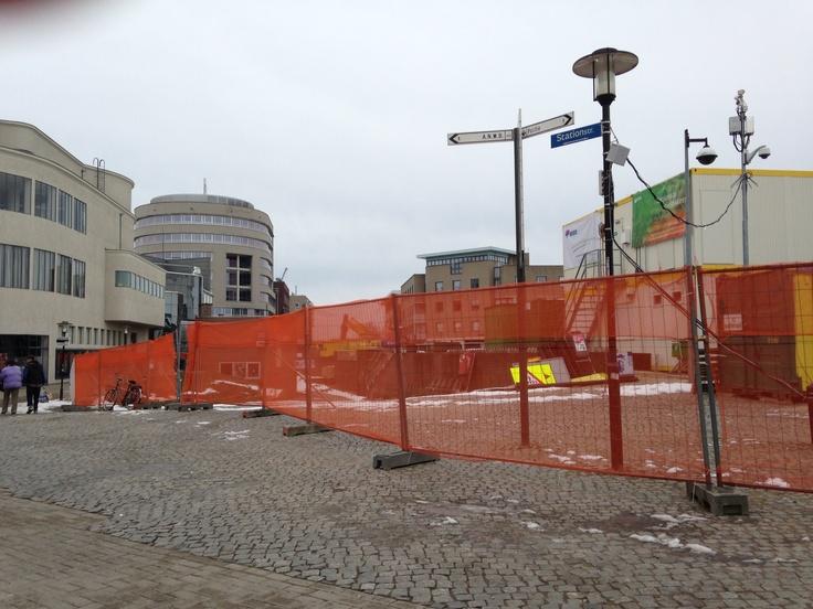 Omgeving station Heerlen na de sloop van het stationsgebouw 16 maart 2013.