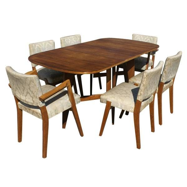 Scandinavian Dining Set 6 Chairs Drop Leaf Table