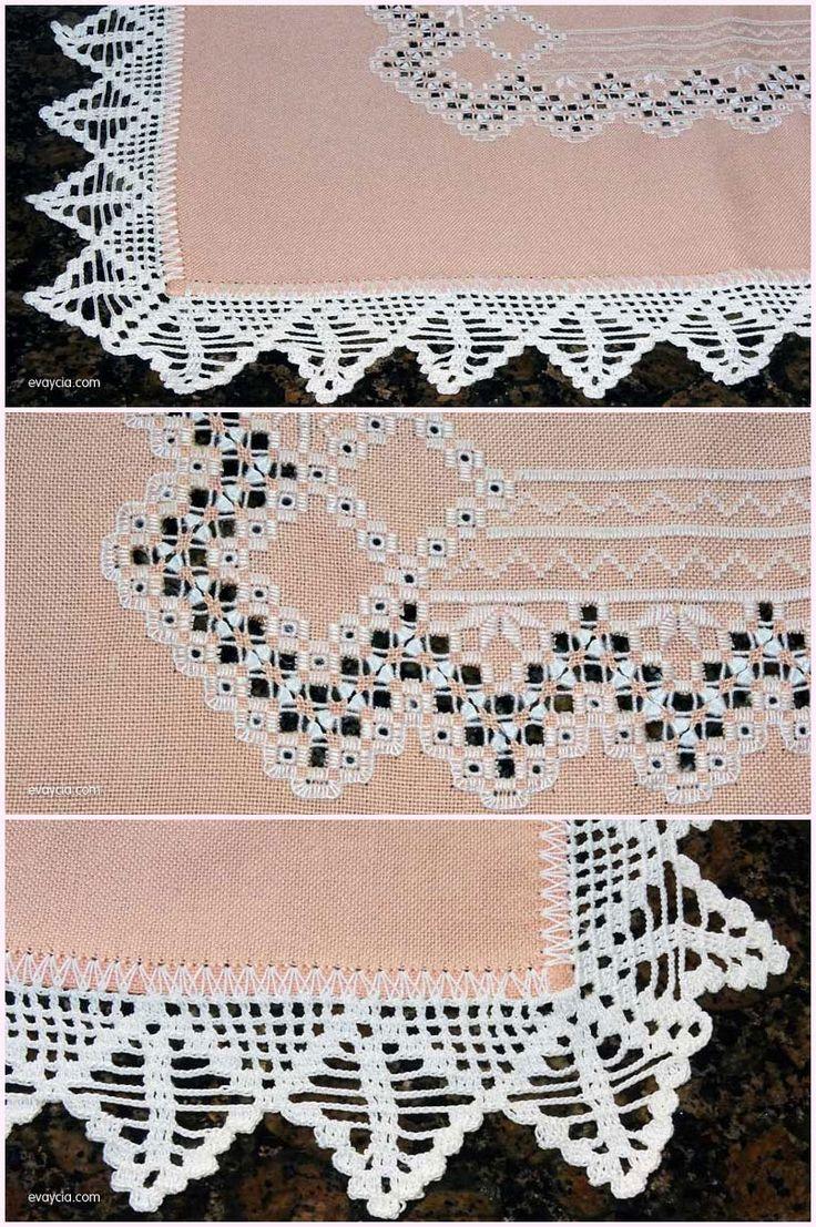 puntillas y bordados vista general de la esquina del mantel y detalles de la