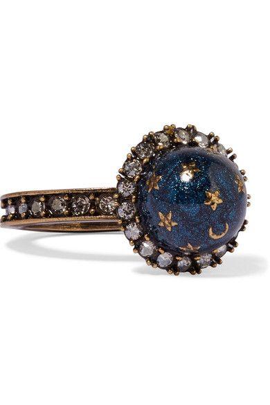 Valentino | Gold-plated, Swarovski crystal and enamel ring | NET-A-PORTER.COM