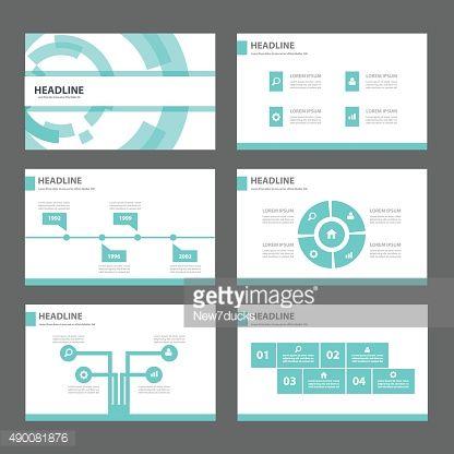 Blue Technology Presentation Templates Flat Design Set For ...