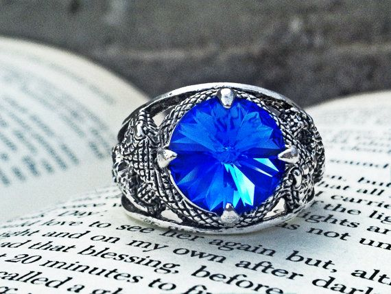 Snake Ring Gothic Ring Sapphire Swarovski Ring by ApplebiteJewelry
