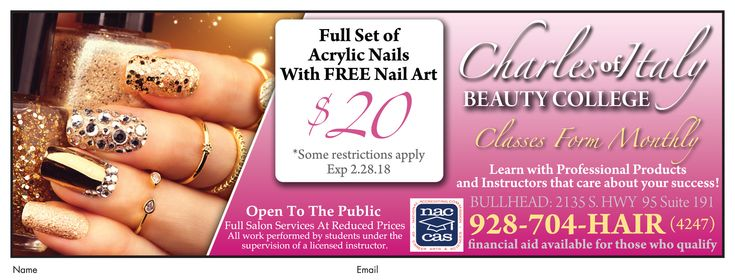 Last day to get a full set of #acrylic #nails w/FREE nail art for ONLY $20 at #CharlesofItalyBeautyCollege in Bullhead City.  #adspay #nails #specials #tips #designs #salon #nailtechs #nailglam #bhc