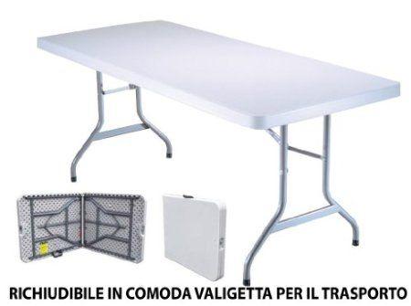 Tavolo Tavolino pieghevole in dura resina 183x76xH72 cm per sagra campeggio fiera - € 73,98