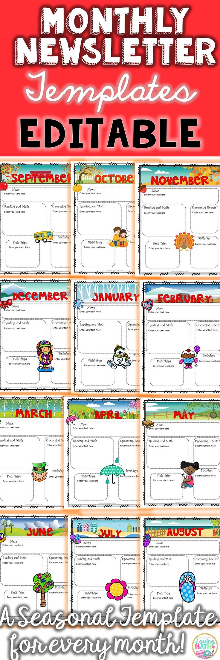 Create beautiful newsletters for your classroom. These templates are seasonal and fully editable!