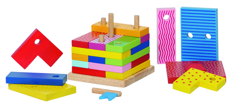 Natural and high quality toys to the development of the skills of children. A wooden stacking house with 22 colorful pieces.