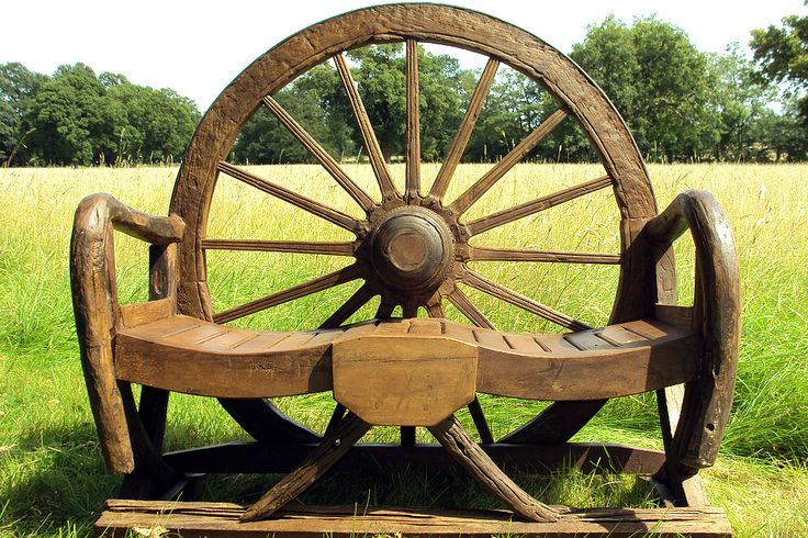 The incredibly unique & popular Wagon Wheel Bench - using an authentic complete wagon wheel - Reclaimed Teak