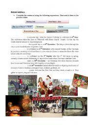 English Worksheets: British holidays