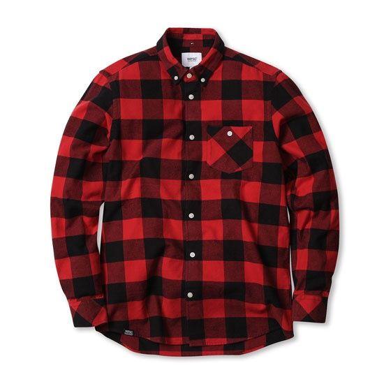 포켓포인트가 들어간 플란넬 체크 셔츠 WESC 위에스씨 [WESC] (G4)Olavi(men′s L/S shirts.candy apple)
