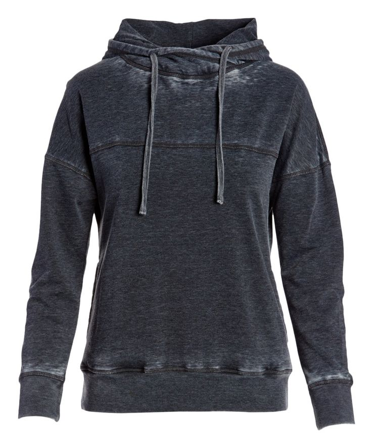 Take a look at this Black Crossover Cowl Neck Hoodie today!