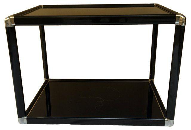 Black Glass &  Chrome Side Table