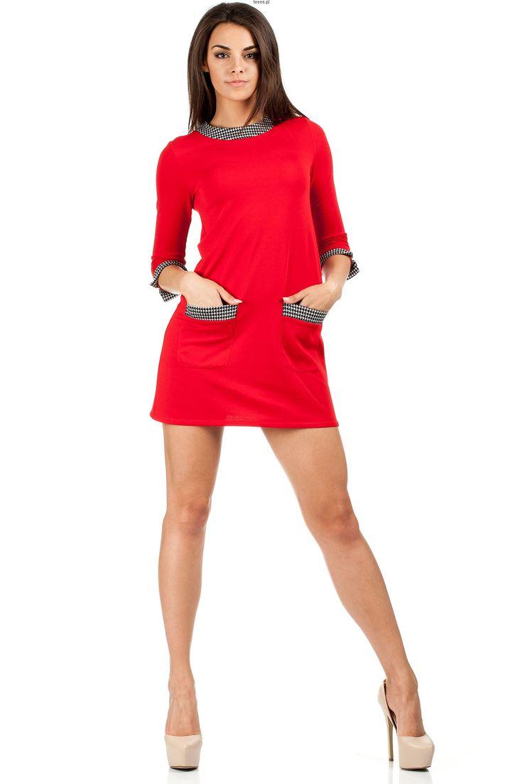 Czerwona tunika a la lata 60