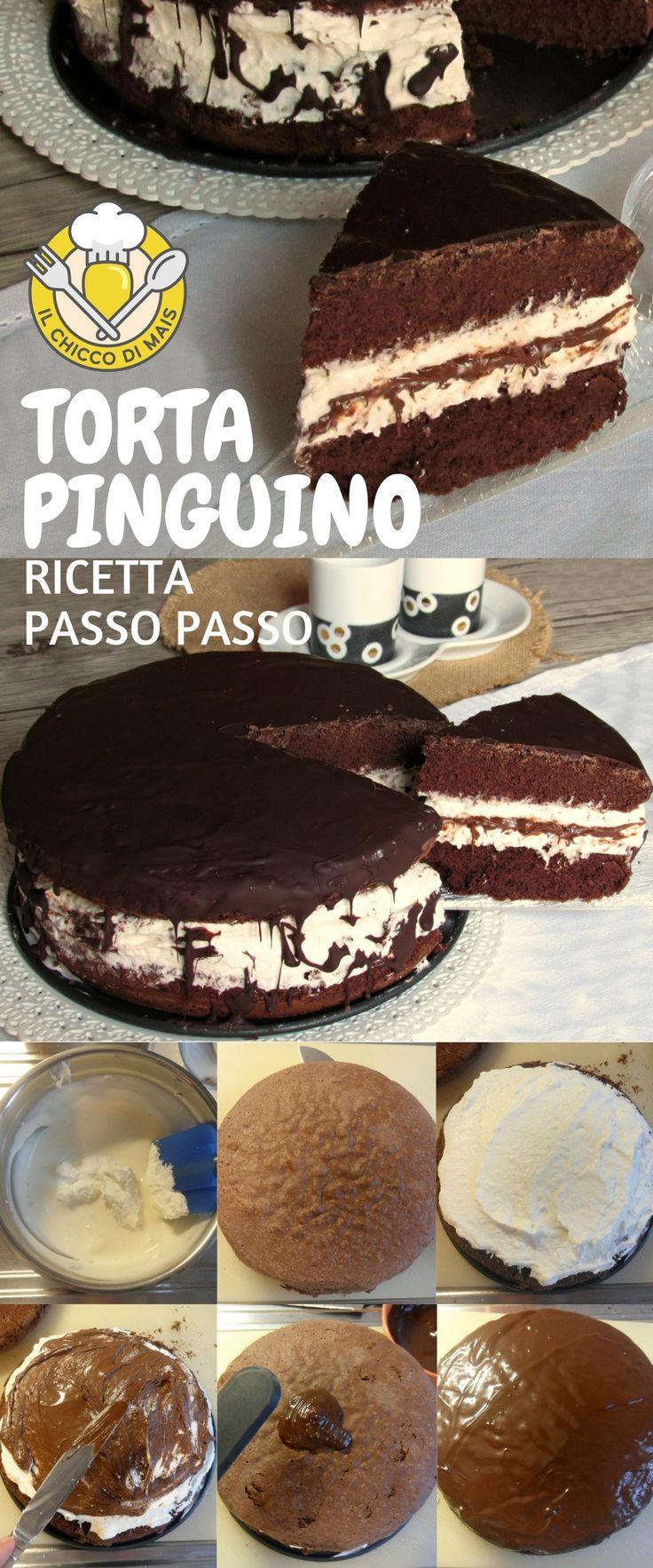 Torta pinguino al cioccolato farcita con crema al mascarpone e Nutella, un dolce facile adatto anche come torta di compleanno! Scopri la ricetta passo passo: https://blog.giallozafferano.it/ilchiccodimais/torta-pinguino/