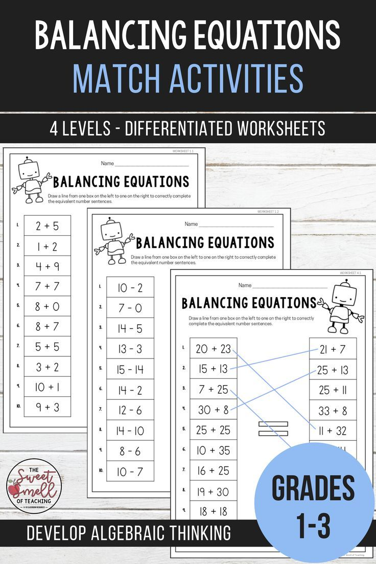 Balancing Equations Equivalent Number Sentence Match Grades 1 3 In 2020 Elementary Resources Equations Math Curriculum