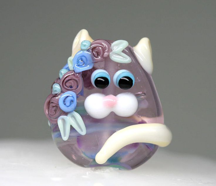 Glass Cat bead with Flowers Lampwork cat Purple Pink SRA lampwork focal Feline Cat lover gift by MayaHoney by MayaHoneyLampwork on Etsy