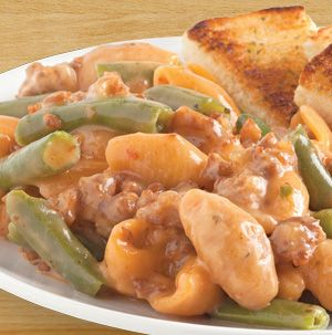 Swap out the ground beef in Hamburger Helper for bulk Italian Sausage and stir in some green beans for dinner tonight. Italian Sausage and Green Beans is ready in about 30 minutes.