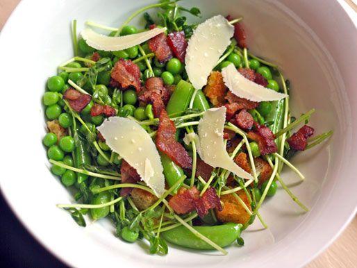 Try this recipe from Tony Mantuano:  Pea, Bacon and Pecorino SaladMantuano Peas, Pecorino Salad, Bacon Salad, Fresh Peas, Pecornio Salad, Bacon Recipe, Interesting Salad, Tony Mantuano, Serious Eating