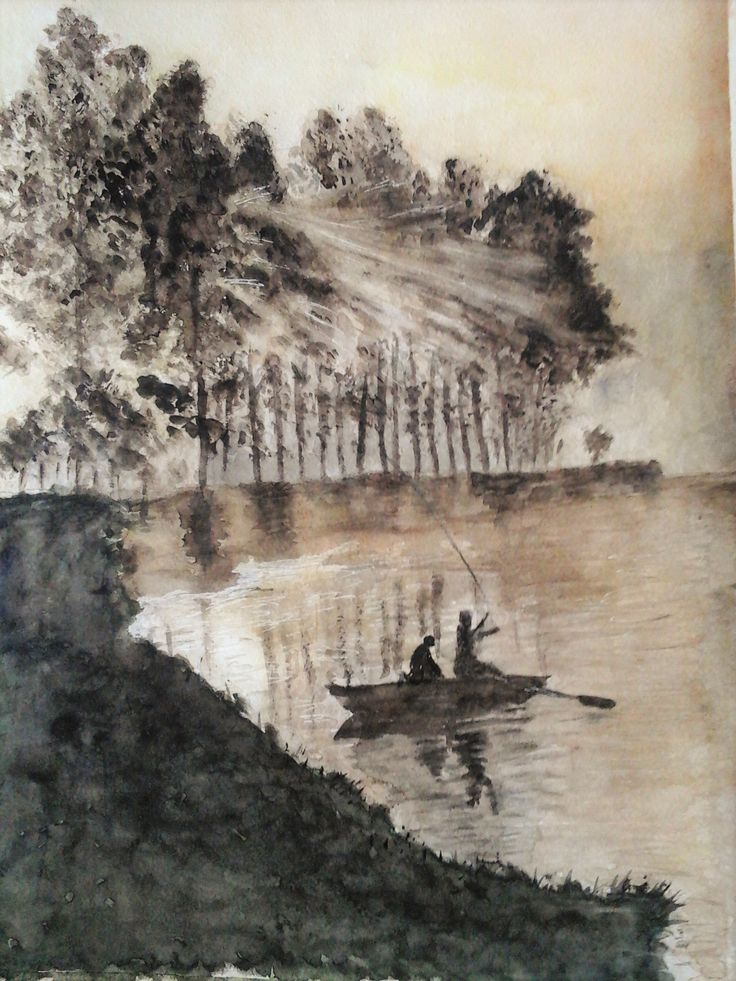 Fishermen in sepia. Watercolour