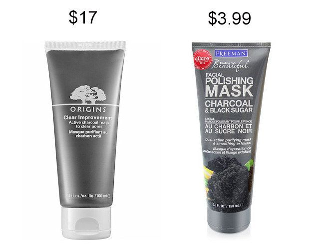 Try Freeman Facial Polishing Mask with charcoal and black sugar instead of Origins Clear Improvement charcoal mask and save about $13.   19 Incredible Drugstore Makeup Dupes That Will Change Your Life