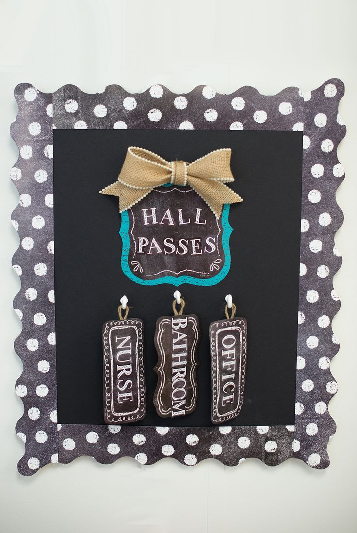 Use the Chalk It Up! Card Cut-Outs to make your own hall passes for the classroom, and don't forget to add some polka dots with the Dots on Chalkboard White Border... and maybe a little burlap ribbon :)