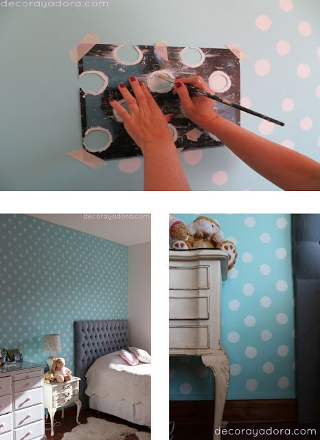 Paint polka dots using an evenly-spaced homemade stencil.