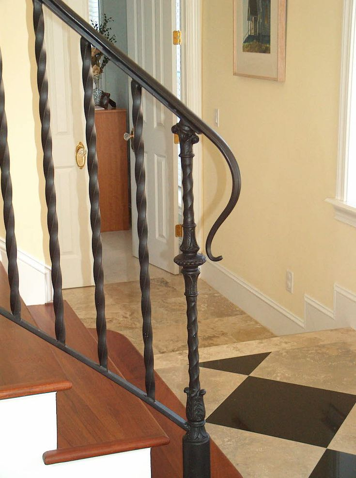 Best Antique Black Wrought Iron Stair Railing With Solid Brown 400 x 300