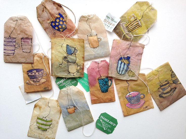 RUBY SILVIOUS : Salvaged : Tea cups on discarded tea bags www.rubysilvious.com