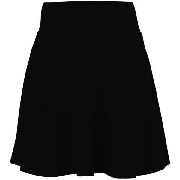 Boohoo Amala Highwaist Fit & Flare Mini Skirt ($11) ❤ liked on Polyvore featuring skirts, mini skirts, pleated midi skirt, short mini skirts, short maxi skirt, high waisted skirts and midi skirt