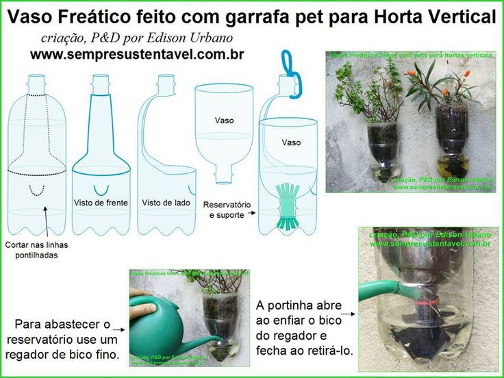 Vaso freatico feito com garrafa pet para horta vertical.