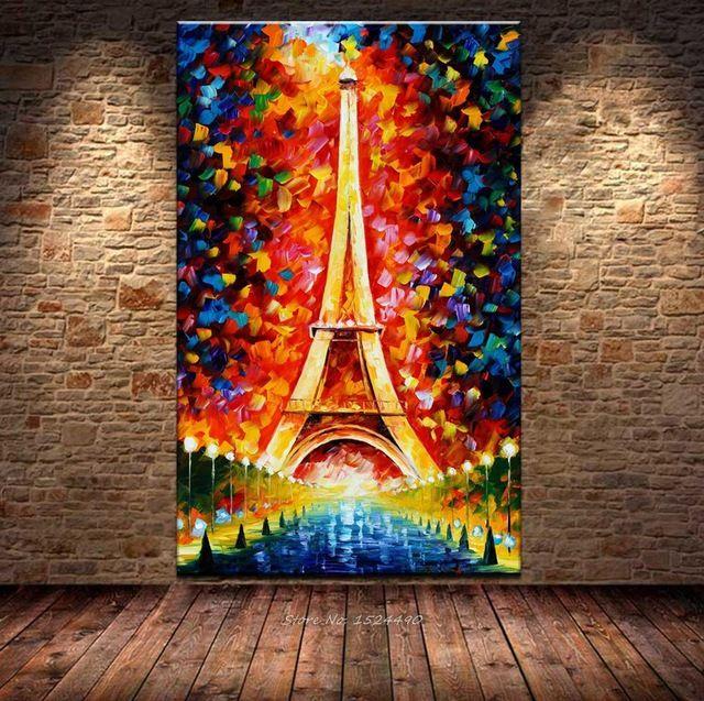 100% Handmade Romantica Città di Parigi Torre Eiffel Paesaggio Palette Pittura A Olio Coltello Dipinti A Mano Pittura A Olio Dipinta A Mano