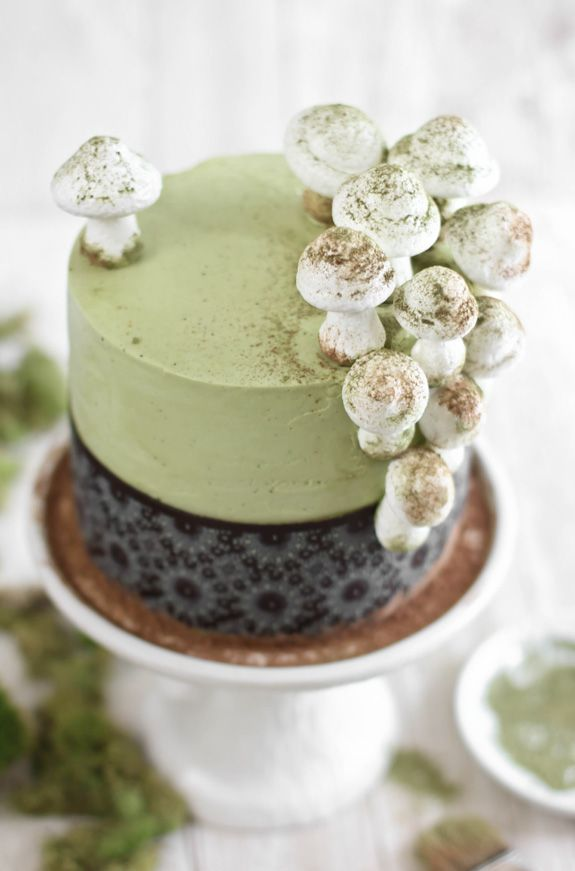 Sprinkle Bakes: Matcha-Almond Layer Cake with Meringue Mushrooms