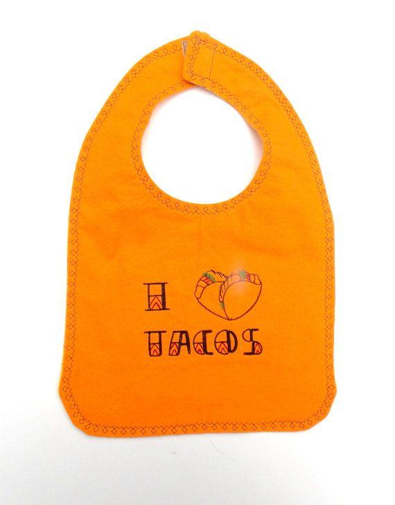 I Heart Tacos Foodie Baby Bib  Taco Baby Bib   by outofmyhead