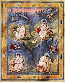 Aachenski evangelijar Karla Velikoga, 8. st. - tetramorf - Matej (anđeo), Marko (lav), Luka (vol), Ivan (orao)