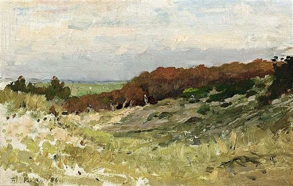 Floris Verster - ´DUINLANDSCHAP´; Medium: oil on canvas; oil on canvas laid down on panel