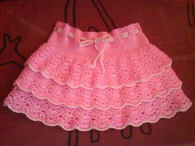 Вязаная юбка девочки