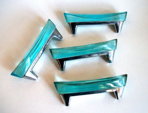 glass drawer pulls for dressers art knobs vintage nautical blue retro 25