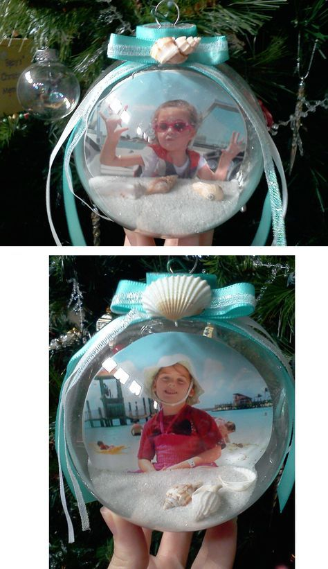 Sand & Beach pictures Christmas globes from our summer 2012 vacation w/the Squires!