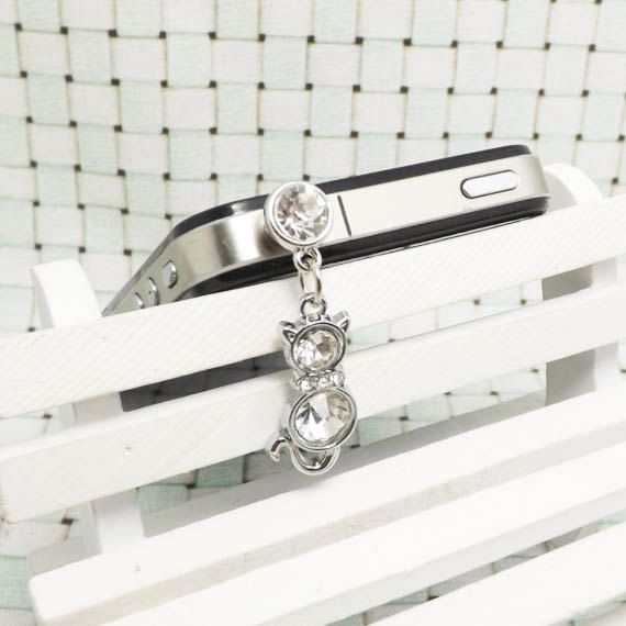 25OFF White K Transparent Crystal Alloy Cat Dangle by Polaris798, $3.48