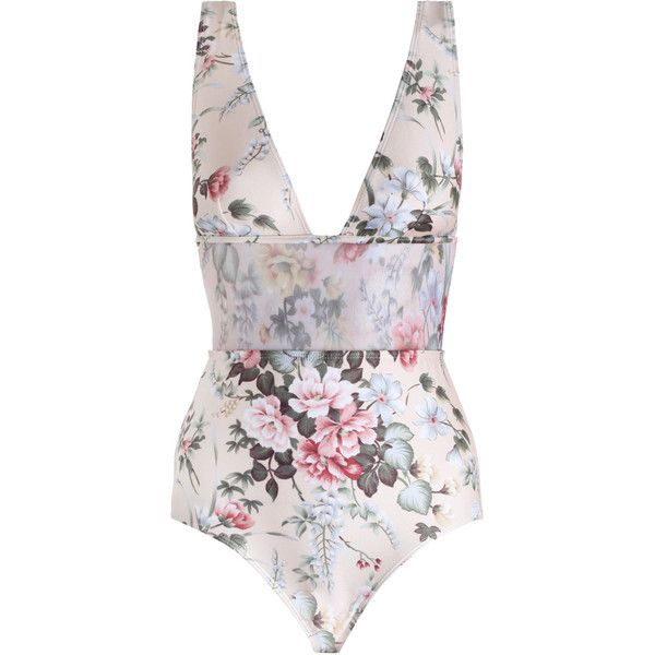 ZIMMERMANN Aerial Plunge Mesh 1 Pc Swimsuit (€165) ❤ liked on Polyvore featuring swimwear, one-piece swimsuits, floral one-piece bathing suits, plunge swimsuit, swim suits, plunge one piece swimsuits and one piece swim suit